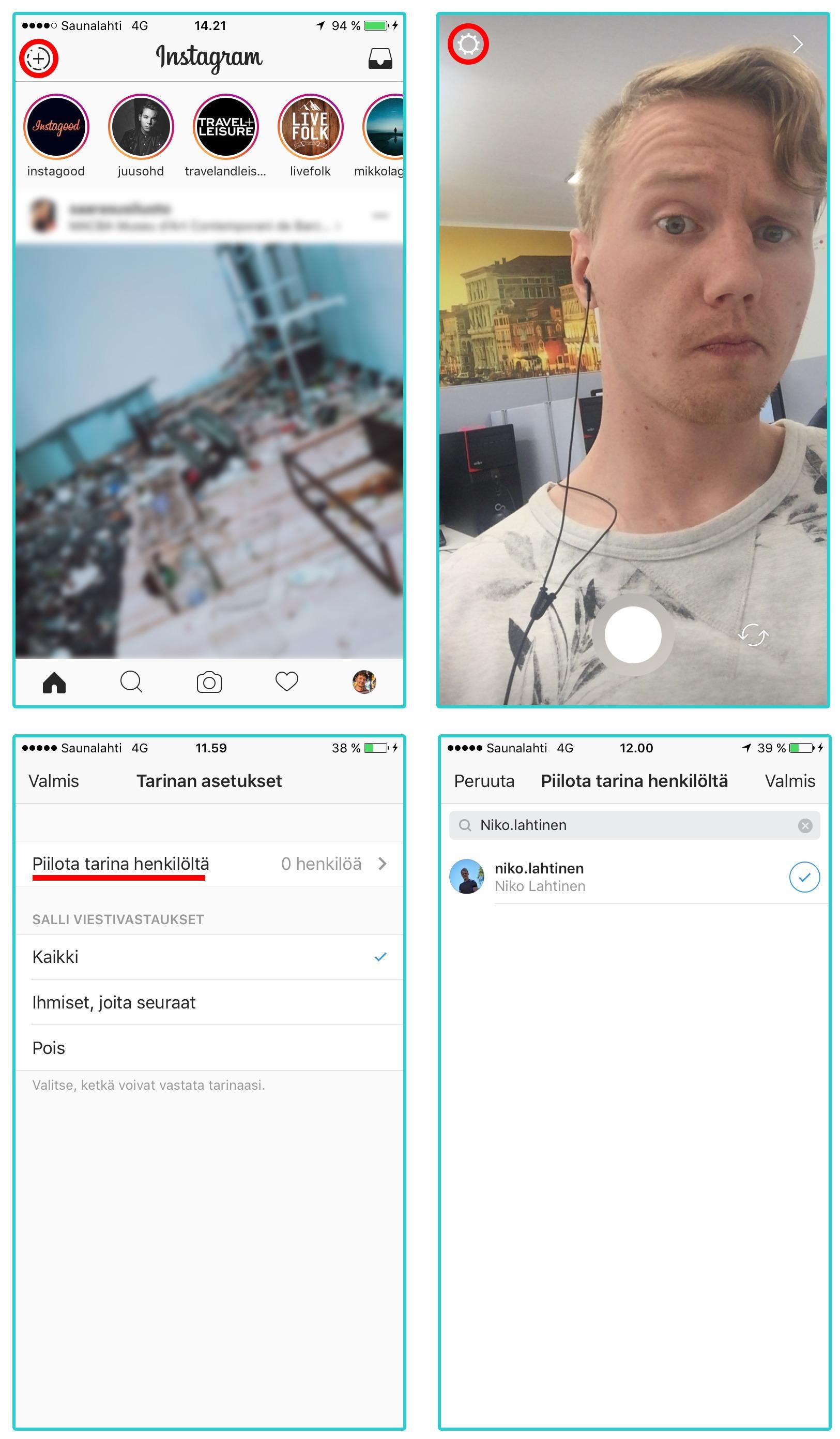 Piilota Instagram Stories henkilöiltä