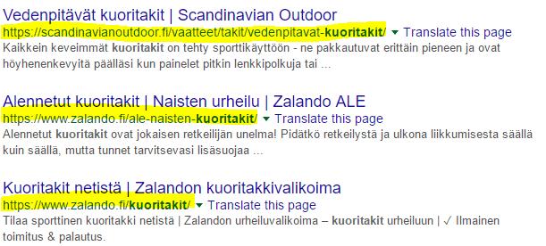 URL-osoitteet googlen hakutuloksissa