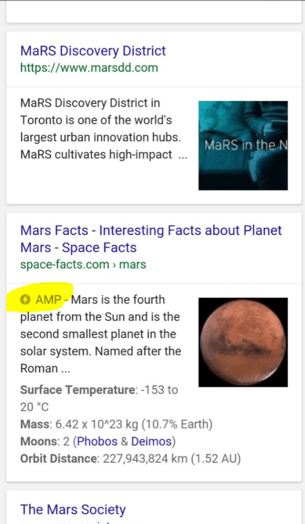 AMP-sivu googlen hakutuloksissa