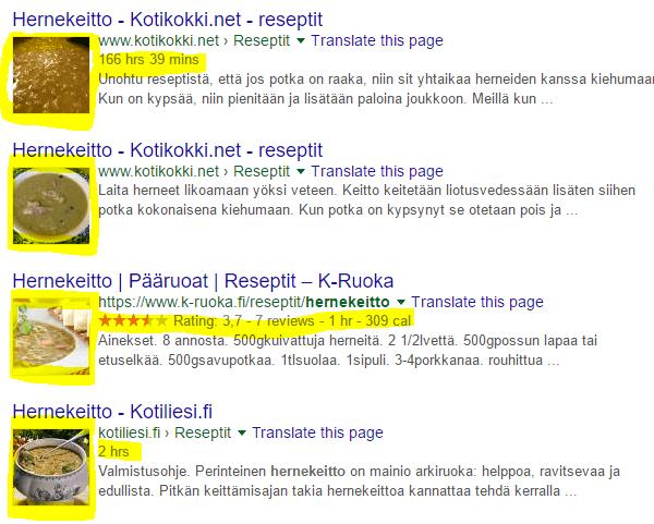 Jäsennellyt tiedot Googlen hakutuloksissa