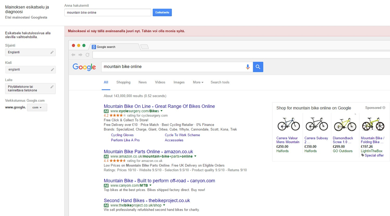 Mainosten esikatselutyökalu ja kansainvälinen Google-mainonta