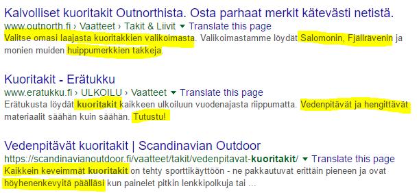 meta-kuvaukset googlen hakutuloksissa