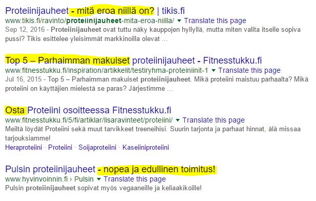 meta titlet googlen hakutuloksissa