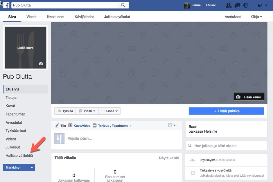 Facebook-kaupan Luominen