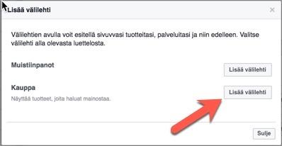 Facebook-kauppa välilehti