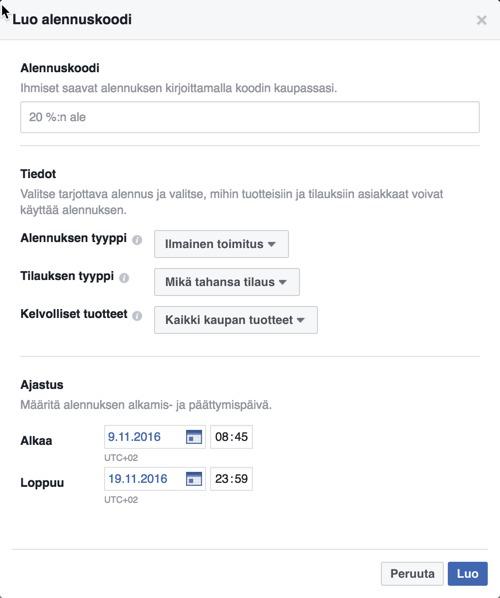 facebook-kaupan alennuskoodien lisääminen