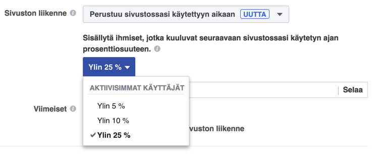 facebook ja sivustolla vietetty aika
