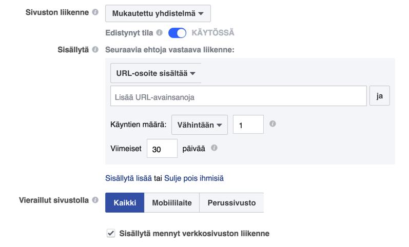 Facebook mukautetut kohderyhmät ja edistynyt tila