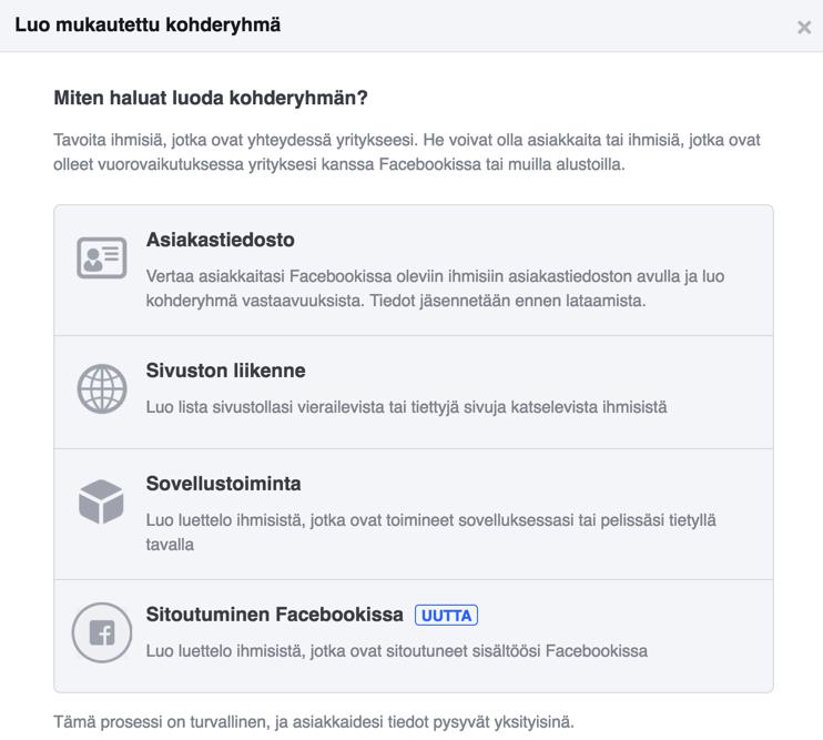 Facebook mukautetut kohderyhmat