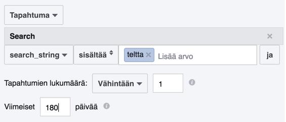 facebook search-event ja kohderyhmät