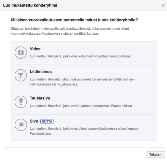 Facebook sivuun sitoutuminen