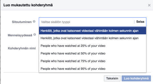 Facebook videoon sitoutuneet