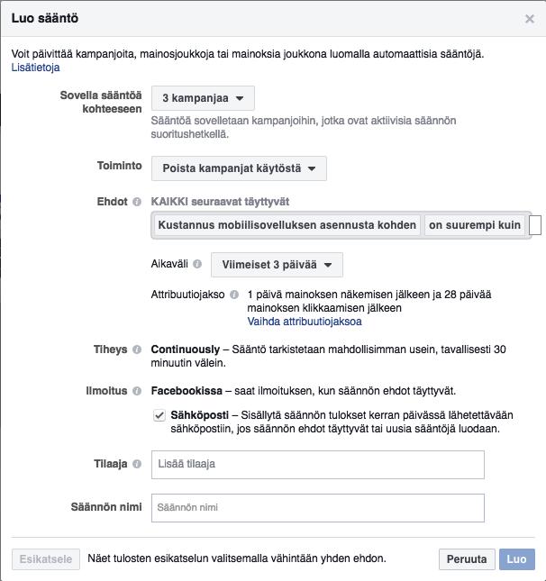 Facebook luo sääntö