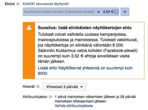 facebook säännöt näyttökerrat