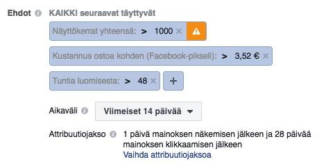 facebook automaattiset säännöt tuntia luomisesta