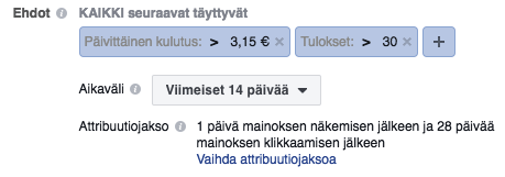 facebook sääntö budjetti