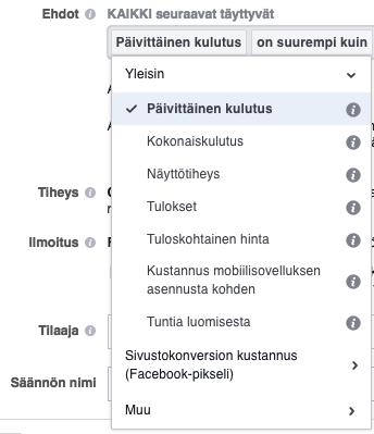 facebook sääntö ehdot