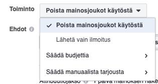 facebook sääntö toiminto