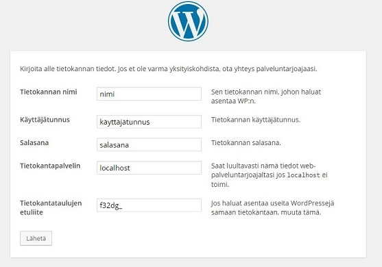Wordpress tietokanta etuliite
